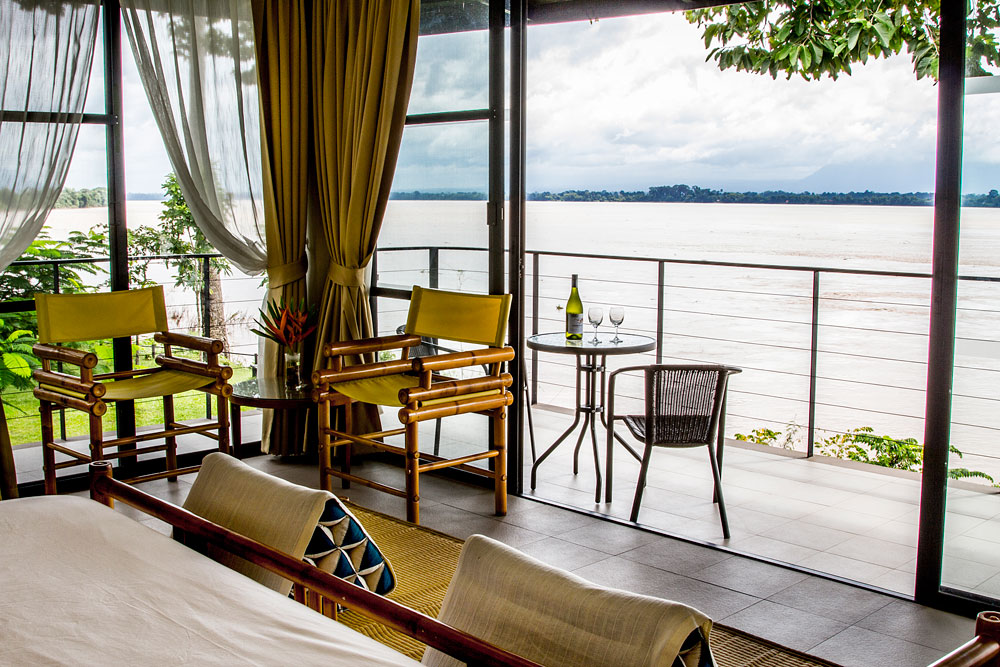Terrasse, Deluxe Riverfront Room, The River Reort, Champasak, Laos Reise